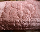 Reserved for Raini Down Comforter Deco Satin Pink Goose Down 68 x 78 Quilted Vintage Luxurious by Plantdreaming