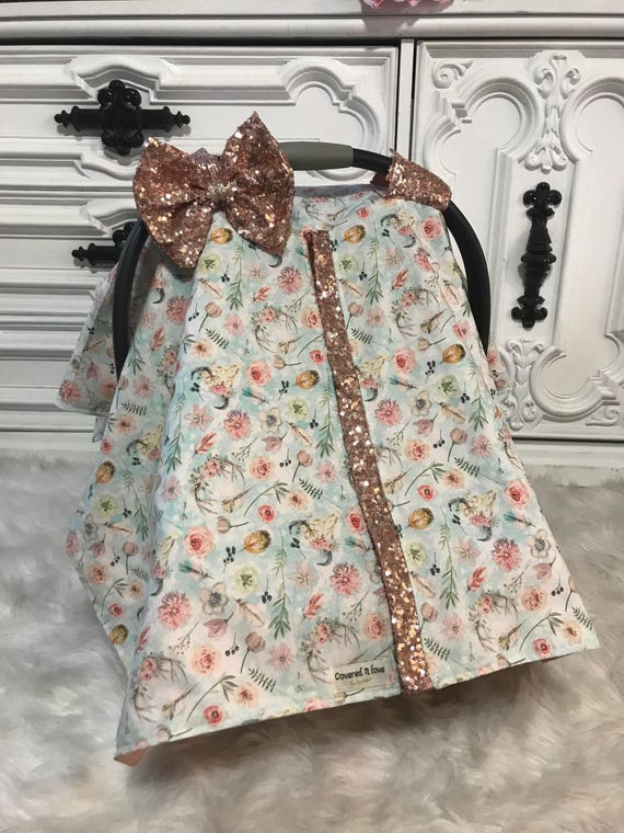 Car seat canopy , bohemian floral with rose gold sparkle