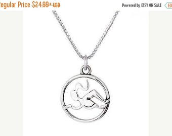 Christmas in July Sale Swimmer Circle CharmNecklace- Sterling Silver
