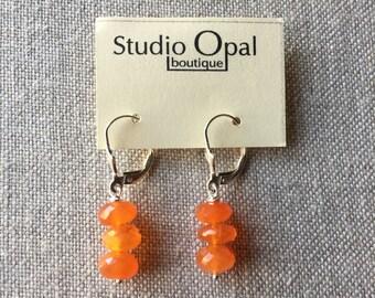 Orange Carnelian Stack Earrings