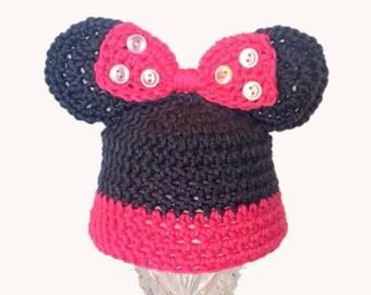 Baby Hat, Crochet Baby Hat, MICKY MOUSE  Crochet Baby Girl Hat, Baby Girl Hat, Beanie Baby Hat, Baby Shower Gift