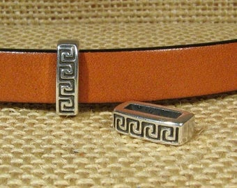 25% Off Two Greek Border Sliders for 10mm Flat Leather - Antique Silver - SP148