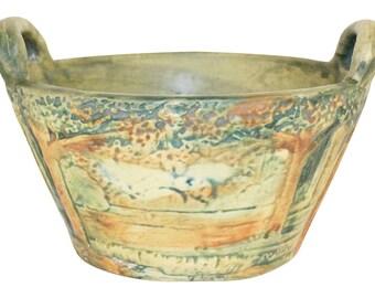 Weller Pottery Forest Handled Basket