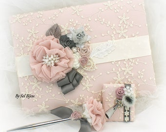 Guest Book, Vintage Wedding, Ivory, Rose, Gray, Dark Gray, Pewter, Bridal Shower, Anniversary, Signature Book, Pen, Lace Guest Book
