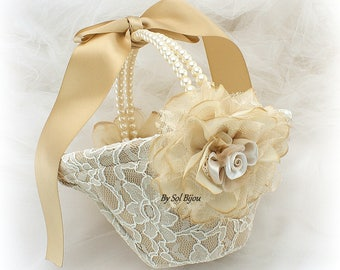 Flower Girl Basket,Gold,Champagne,Ivory,Lace Basket,Gold Basket,Elegant Wedding,Vintage Wedding, Gatsby Style, Pearl Handle,Round Basket