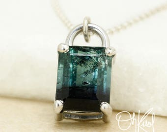 Bi-Colour Teal Blue & Black Tourmaline Necklace - Rectangular Pendant - 925 Sterling Silver