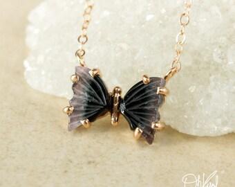Violet Purple Tourmaline Butterfly Necklace - Natural Purple BlackTourmaline - One of a Kind