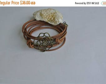 SALE 40% OFF Natural Leather Brass Rose Wrap Bracelet