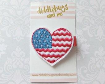 Patriotic Heart Hair Clip,  Red White Blue Heart Hair Clip, Girls Patriotic Heart Clip, Fourth of July Hair Clip, Heart Hair Clip, Patriotic