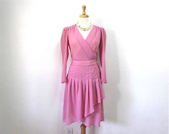 70s Dress Pink Chiffon Wrap Pleated Skirt Lizzy & Johnny Bridesmaid Party S/M