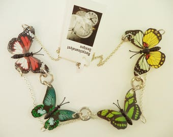 Handmade, Butterfly Necklace, butterflies necklace,laminated images necklace, gardeners gift, Summertime necklace, wearable art