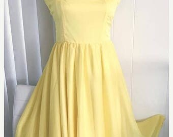Memorial Day Sale 25% OFF Pretty as a Butter Cup -- Vintage Yellow Chiffon and Nylon Dress -- Size S