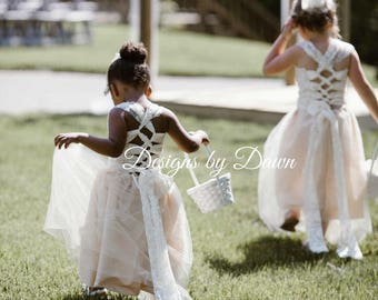 NEW! Champagne Flower Girl Dress. Lace overlay one piece Dress. Detachable Train & hair piece. Size 6m-12 Girls. Custom colors!