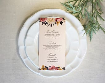 Wedding Reception Menu with a Beautiful Floral Garden digitally printed, by Fat Cat Paperie
