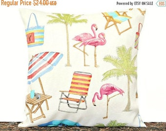 Christmas in July Sale Flamingos Pillow Cover Cushion Coastal Tropical Outdoor Indoor Palm Trees Beach Pink Green Turquoise Blue Orange Red
