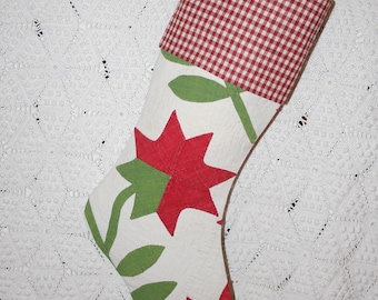 Red Flowers Antique Quilt Stocking | Red and Green Antique Quilt Christmas Stocking with Antique Homespun Red and Cream Check Cuff
