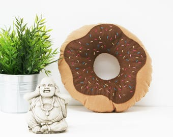 Chocolate Brown Iced Doughnut Cushion, Donut Throw Pillow, Plush Doughnut, Food Plush, Nursery Decor, Kids Room Decor, Reading Corner