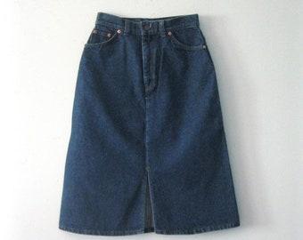 Spring SALE Vintage 80s Levi's denim skirt / orange tab Levis straight line Hipster Boho jean skirt