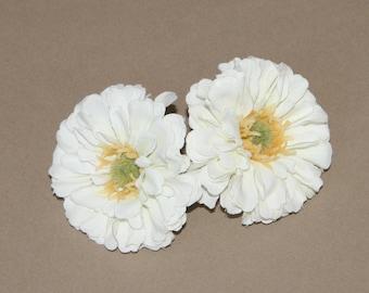 2 Small Soft White Zinnia - Artificial Flower Head, Silk Flower
