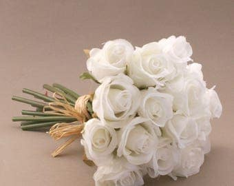 small white rose bouquet artificial flowers silk flowers