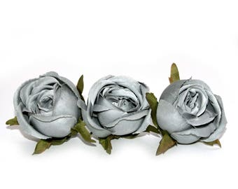 3 Small Overcast Gray Cabbage Rose -  Artificial Flowers, Silk Flowers