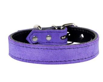 Lavender Suede Dog Collar - Genuine Leather Dog Collar - Lavender Leather Dog Collar - Lavender Suede Dog Collar With Black Stitching