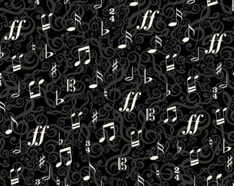 Kanvas By Benartex - The Music In Me - 3/4 Time - Black/Cream - Fabric by the Yard 8451B-12