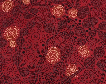 M & S Textiles - Aboriginal - Bush Tucker Red by June Smith - Fabric by the Yard BTRE