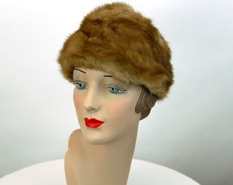 1960s mink hat medium brown blond winter fur hat Miss Alice Montaldo's  Size 21