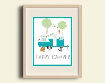 Happy Camper / Camping Decor / Summer Decor / Vacation Decor / Outdoor Theme Decor / Nursery Decor / Printable