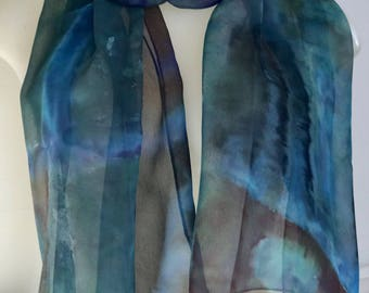 Hand painted silk chiffon scarf in blues