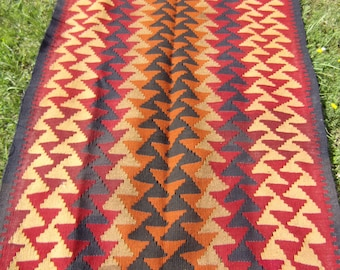 "6 ft 1 x 3 ft 3""  178 x 104 cm   Striking pattern Maimana Hand woven Rug/Kilim . Traditional."