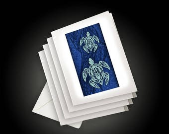 Blue Tribal Turtles Art Background, Tattoo Inspired Polynesian Hawaiian Design, Greeting Cards and Envelopes, Set of 4