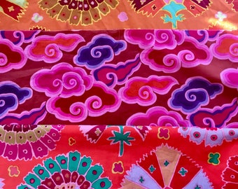 Kaffe Fassett, OOP, rare, Clouds, Turkish delight, red, orange, fat quarters