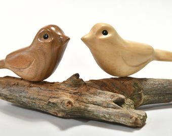Wooden Birds, Wife Gift for Mom Love Birds, Gift Under 30 Wood Carving, 5th Anniversary, Wood Sculpture, Lovebirds, Grandma Gift