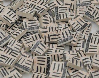 100 Broken Plate Mosaic Tiles - Beige - Brown Lines - Geometric - Earth colors - Natural