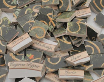 100 Broken China Mosaic Tile -Recycled Plates -  Whimsical - Swirly - Colorful Green - Herbs Names -