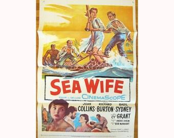 vintage original 1957 film poster SEA WIFE Richard Burton Joan Collins