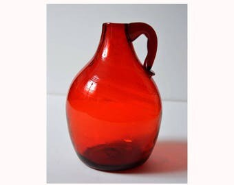 Clevenger Brothers ruby red glass camphor jug New Jersey
