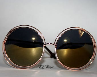 Oversized Round Sunglasses Double Wired Halo Rose Gold w Olive Lens