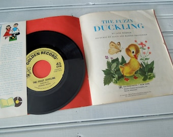 Child's Record and Book - Read and Hear Children's Book- The Fuzzy Duckling  a Little Golden Book & 45 RPM Record  - Vintage Set