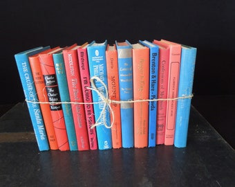 Blue and Coral - Books by the Foot -Colorful Books for Decor - Vintage Book Stack - Bookshelf Decoration