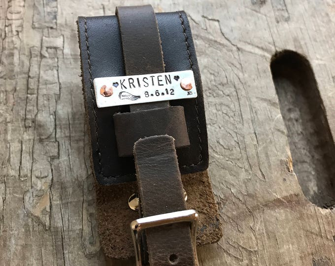Memorial Bracelet Leather Fathers Bracelet Dad Fathers Sterling Silver Leather Cuff Buckle
