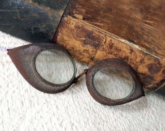 Vintage Civil War Artillery Goggles - Antique Metal Military Goggles - Steampunk Prop goggles