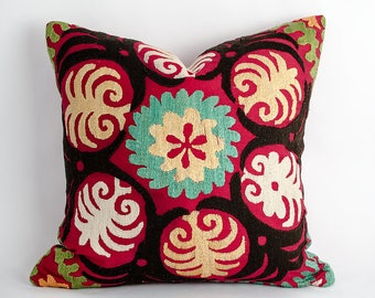 Unique Vintage floral suzani pillow cover, handmade silk embroidery. one of a kind. 14x14 inches or 35x35 cm size, suzani, decorative pillow