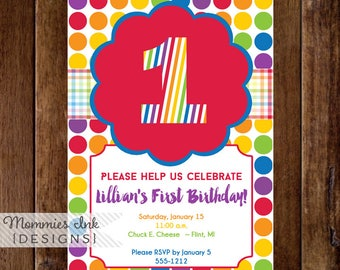 First Birthday Party Invitation, First Birthday Invitation, Rainbow Invitation, Rainbow Birthday Invitation, Rainbow Party Invite, Kids