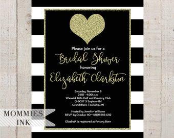 Gold Glitter Heart Bridal Shower Invitation, Black & White Stripes, Black White and Gold Shower Invitation, Gold Heart Invite, Modern Invite