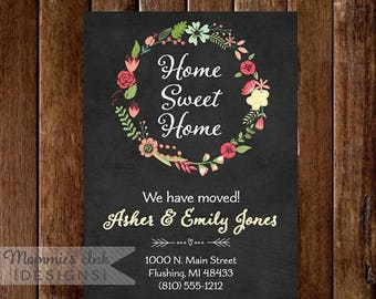 20% OFF SALE Wreath Moving Announcement - Floral Wreath Announcement - We've Moved Announcement - New Home Announcement - Chalk Moving Annou