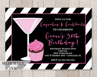 Cupcakes and Cocktails Birthday Invitation, Black and White Stripes, Martini Invitation, Pink and Black Invite, 30th Birthday Invitation