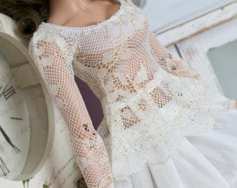 Offwhite and gold lace peplum top for slim Mini Super Dollfie MNF Minifee Luts Fairyland MSD